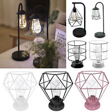 Wrought Iron LED Desk Lamp Modern Geometric Bedroom Night Light Home Table Decor
