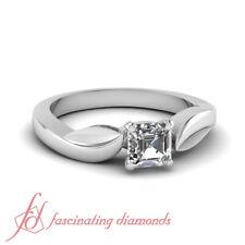 Asscher Cut White Gold Unique Solitaire Diamond Engagement Ring GIA 0.75 Carat