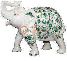 "9"" Marble Trunk Up Elephant Malachite Floral Fine Stone Christmas Eve Gift Decor"