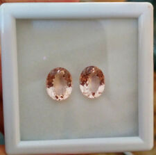 Natural Gemstone Certified Pair Pink Peach Morganite Oval Cut 9x11mm 6.10Cts