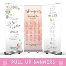 Personalised Wedding Pull Roll Up Roller Banner Sign/Welcome/Table Plan/Timeline