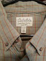2XL Cabela's Green Orange Gray Long Sleeve Plaid Long Roll Tab Sleeve Shirt