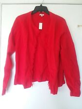 Talbots Red fringed cardigan sweater  100% cotton Woman's Large New