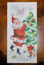 Vintage UNUSED Christmas Card SILVERED EMBOSSED SANTA DECORATING TREE MidCentury