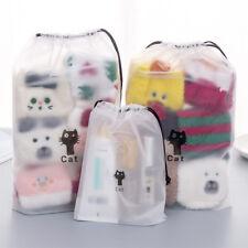 3Pcs Set Clothing Storage Bag Drawstring Organizer Cat Travel Waterproof Pouch