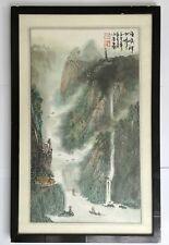 Pintura China Original Firmado Enmarcado Y Galería Etiqueta