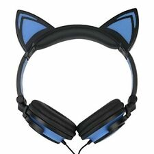 Cat Ear LED flashing Glowing headphones Wired headset  - Blue