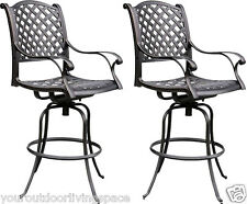 Patio Bar Stools Outdoor Cast Aluminum Swivles Set of 2 Nassau Furniture Bronze