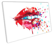 WATERCOLOUR RED LIPS CANVAS WALL ART PICTURE LARGE 75 X 50 CM