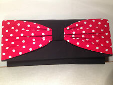 ROCKABILLY UNIQUE COTTON BLACK WITH RED & WHITE SPOT BOW clutch bag, fully lined