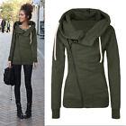 donna maglione zip casual Felpa con cappuccio maglia cappotto giacca