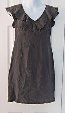 VTG Rickie Freeman Teri Jon Black Polka Dot Silk Little Black Ruffled Dress 6