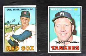 1967 Topps Baseball Cards Lot of 2    Mantle and Yastrzemski   Excellent