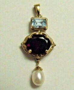 9ct Yellow Gold Aquamarine Garnet Pearl Pendant Hallmarked