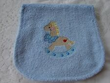 Rocking Horse Embroidered Blue Towelling Burp Cloth