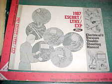 1987 FORD ESCORT/ LYNX / EXP ELECTRICAL WIRING VACUUM MANUAL EVTM vg
