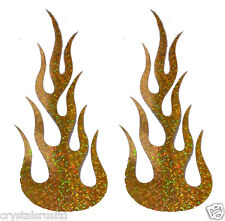 2 Small Flame Fire Gold Holographic Iron-on Transfer Patch