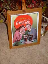 Coca Cola Custom Cedar Framed Vintage Retro Tin Lovers Bar Sign