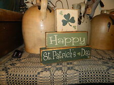 PRIMITIVE BLOCK SIGN 2~~HAPPY ST. PATRICKS DAY~~SHAMROCKS~~CLOVERS~~