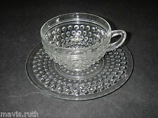 Anchor Hocking Glass HOBNAIL Clear Cup & Saucer Set Depression.