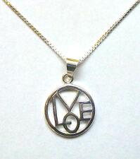 Sterling Silver Circular LOVE pendant on 16 inch Box Chain               B82580