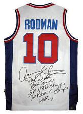 Dennis Rodman Autographed Pistons NBA Basketball White Stat Jersey ASI Proof