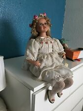 Alberon Doll Porcelain Kayley Girl Flowers Dress Vintage