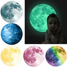 3D Grand Lune fluorescent Autocollant Mural brille dans le noir Art Décalque