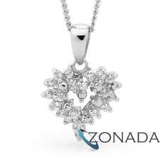 New Classic Natural SimulatedDiamond 925 Sterling Silver Hearts Pendants