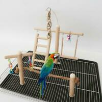 Wood Bird Cage Parrot Stand Rope Climbing Ladder Play Gym Perch Playground Toys