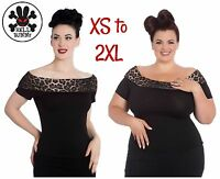 Hell Bunny Panthera Top Leopard Off Shoulder Plus PinUp Rockabilly 50s XS - 2XL