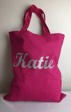 Personalised Canvas Tote Bag - Glitter Custom Name Party Favour School Bag W101S