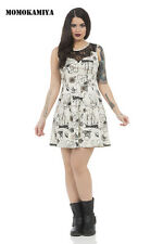 JAWBREAKER VOODOO VIXEN CREAM ROCKABILLY DRESS VINTAGE DRA8056 RETRO WOMEN GIRLS