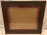 Large Antique Wooden Picture Frame With Red Velvet Offset