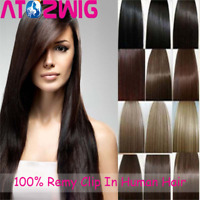 """7pcs 15"""" 18"""" 20"""" 22"""" Clip In Remy Real 100% Human Hair Extensions Full Head Hair"""