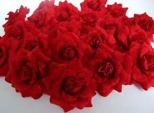 100 DARK RED SILK ROSE FLOWER HEAD ARTIFICIAL WHOLESALE LOTS DECOR CLIP WEDDING