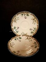 Noritake Primachina Le Parc Saucers Purple Blue Flowers Scalloped Edge--Lot of 2