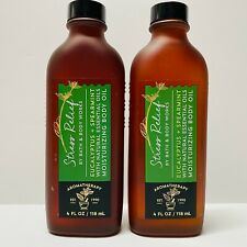 2 Bath Body Works Aromatherapy Stress Relief Eucalyptus Spearmint Body Oil 4 oz