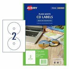 WHITE Avery 960101 Laser Labels CD/DVD B&W 117mm 2 per Sheet 25 Sheets 2 UP