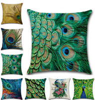 New UK Peacock Feathers Cushion Cover Home Decor Sofa Throw Pillow Case Art 18''