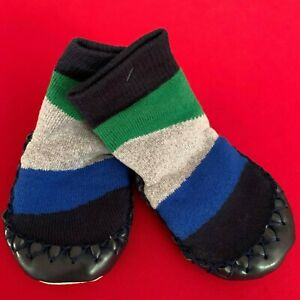 """HANNA ANDERSSON Baby Boys """"COLOR-BLOCK"""" Moccasins Slippers. 1/2, 0-6 Months."""