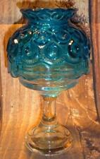 Vintage L E Smith Moon & Stars Glass Fairy Lamp Candle Holder COLONIAL BLUE
