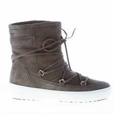 MOON BOOT scarpe donna Tronchetto camoscio grigio stringhe fodera eco-pelliccia
