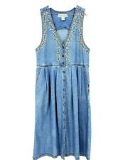 Jane Ashley Womens Size Sm Vintage Floral Embroidered Cotton Denim Jumper Dress