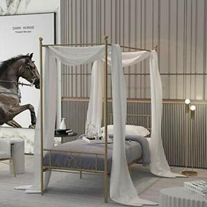 WeeHom Canopy Bed Frame with 4 Posters Classic Design Metal Bed Frame Twin Gold