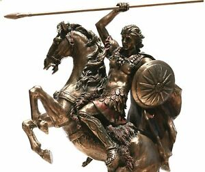 Alexander the Great on Horse Greek Macedonian King Warrior Statue Sculpture