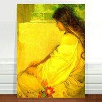 "Alphonse Mucha Girl with Tulips ~ FINE ART CANVAS PRINT 16x12"""