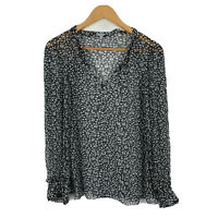 Jigsaw Womens Blouse Top Size 4 Black White Floral Long Sleeve V-Neck Sheer