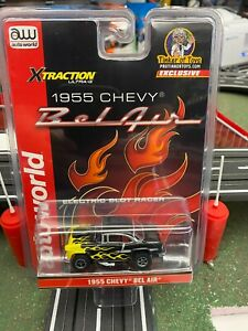 1955 Chevy Bel Air Black with Yellow Flames | CP7760PT | Auto World | Exclusive