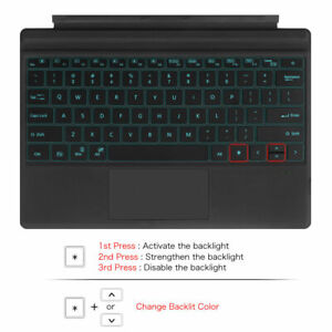 7-Color Backlit Bluetooth Keyboard for Microsoft Surface Pro 7 / 6 / 5 / 4 / 3